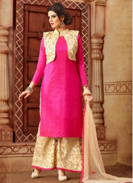 Sightly Cream and Rose Pink Designer Palazzo Salwar Kameez For Ceremonial