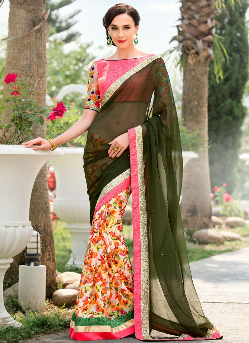 Sightly Digital Print Work Half N Half Party Wear Saree