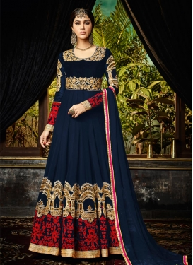 Sightly Embroidered Work Floor Length Anarkali Salwar Suit For Festival