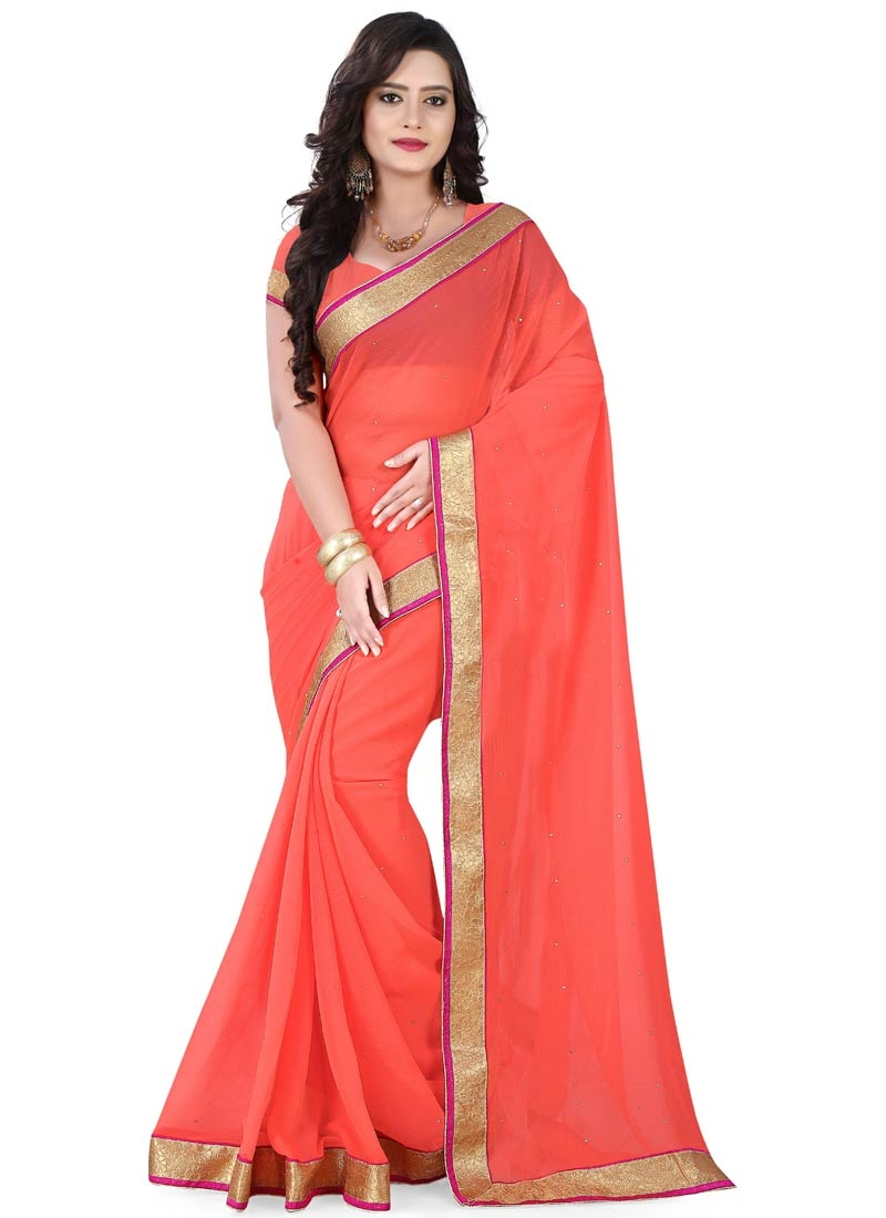 Sightly Faux Chiffon Resham Work Casual Saree