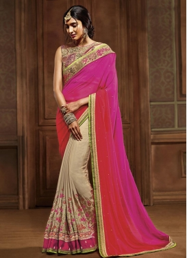 Sightly Faux Georgette Beige and Red Half N Half Saree For Party