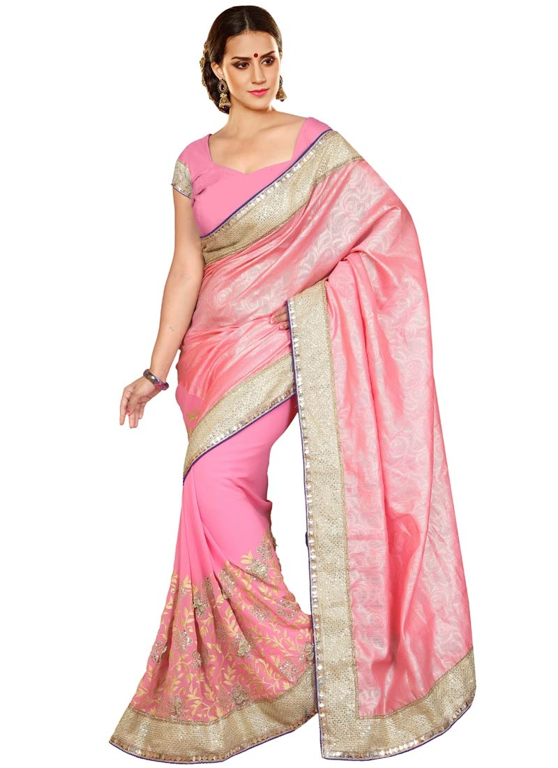 Sightly Faux Georgette Sequins Work Designer Saree