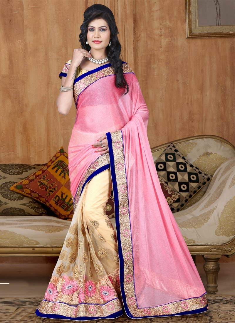 Sightly Floral And Booti Work Half N Half Wedding Saree