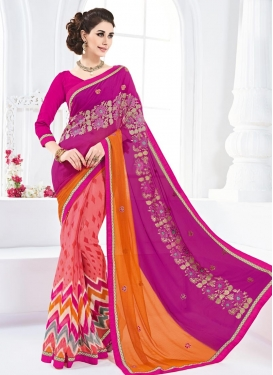 Sightly Fuchsia and Orange Embroidered Work Faux Georgette Half N Half Designer Saree