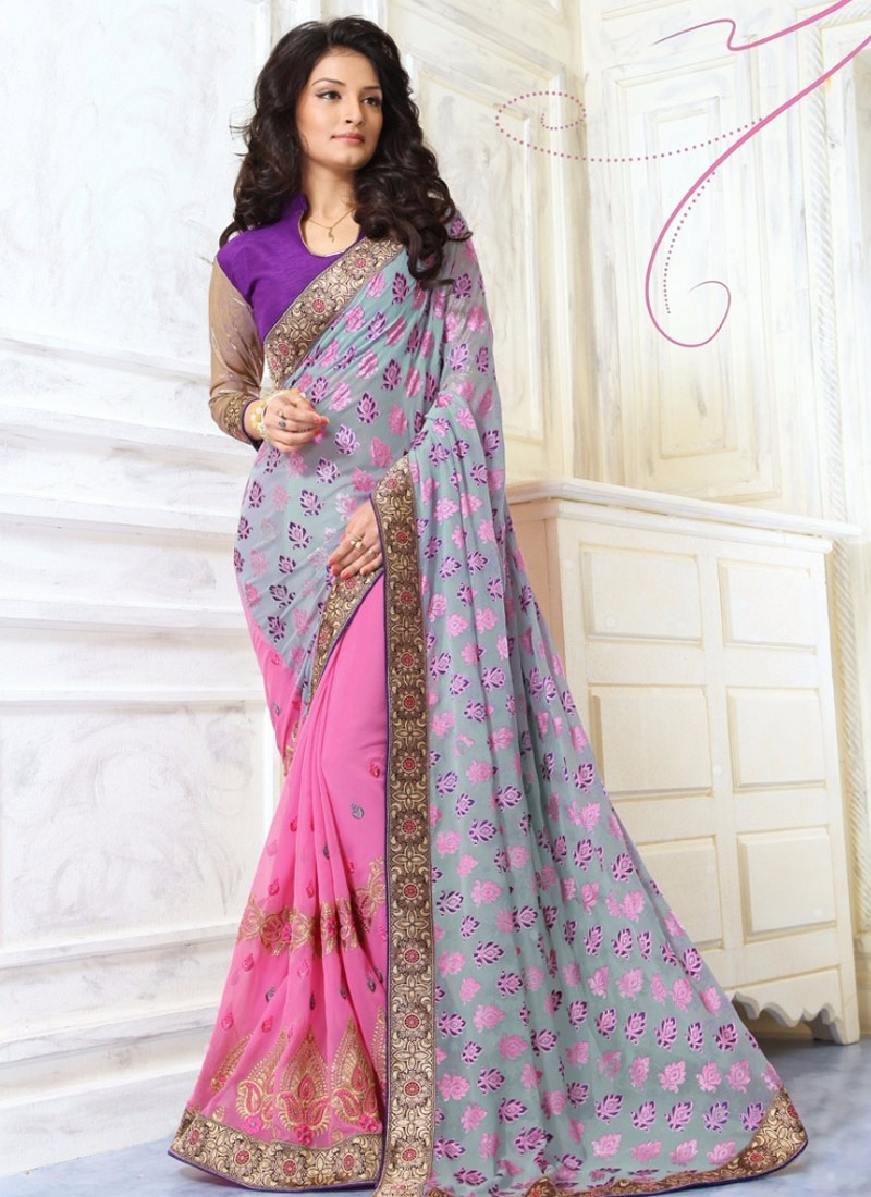 Sightly Lace Work Brasso Georgette Half N Half Party Wear Saree