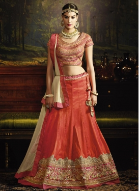 Sightly  Lace Work Silk Cream and Orange A Line Lehenga Choli