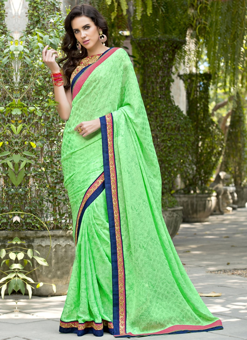 Sightly Mint Green Color Party Wear Saree