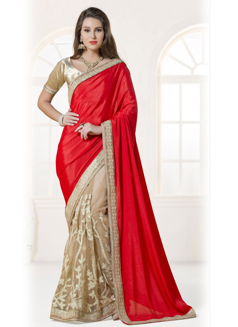 Sightly Mirror Work Half N Half Designer Saree