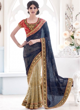 Sightly Navy Blue Color Net Half N Half Designer  Saree