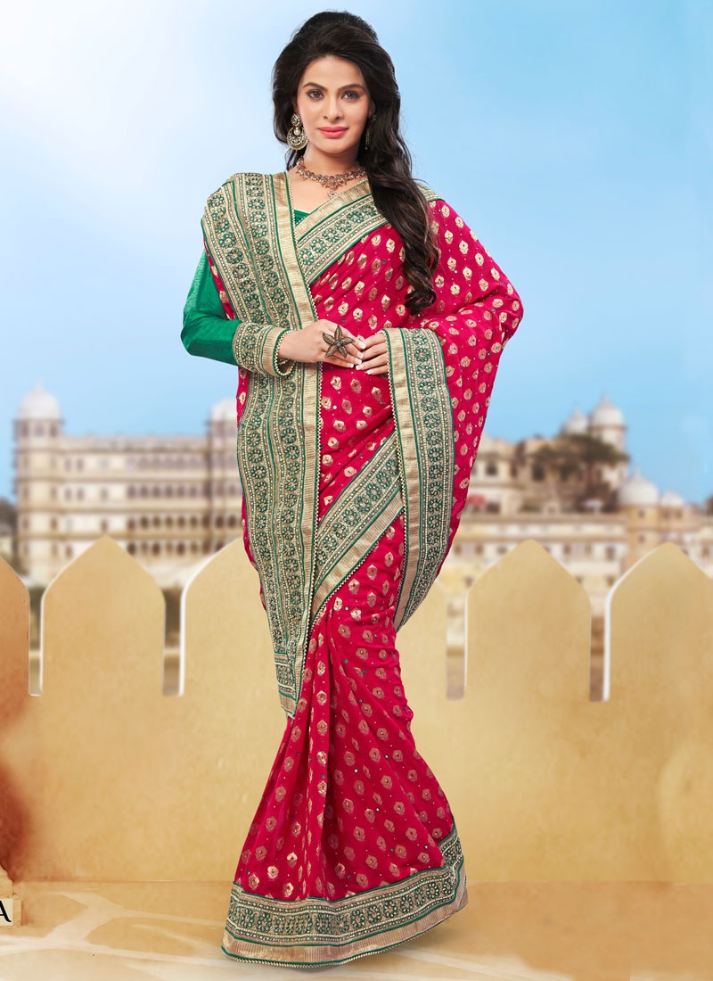 Sightly Patch Border And Beads Work Wedding Saree