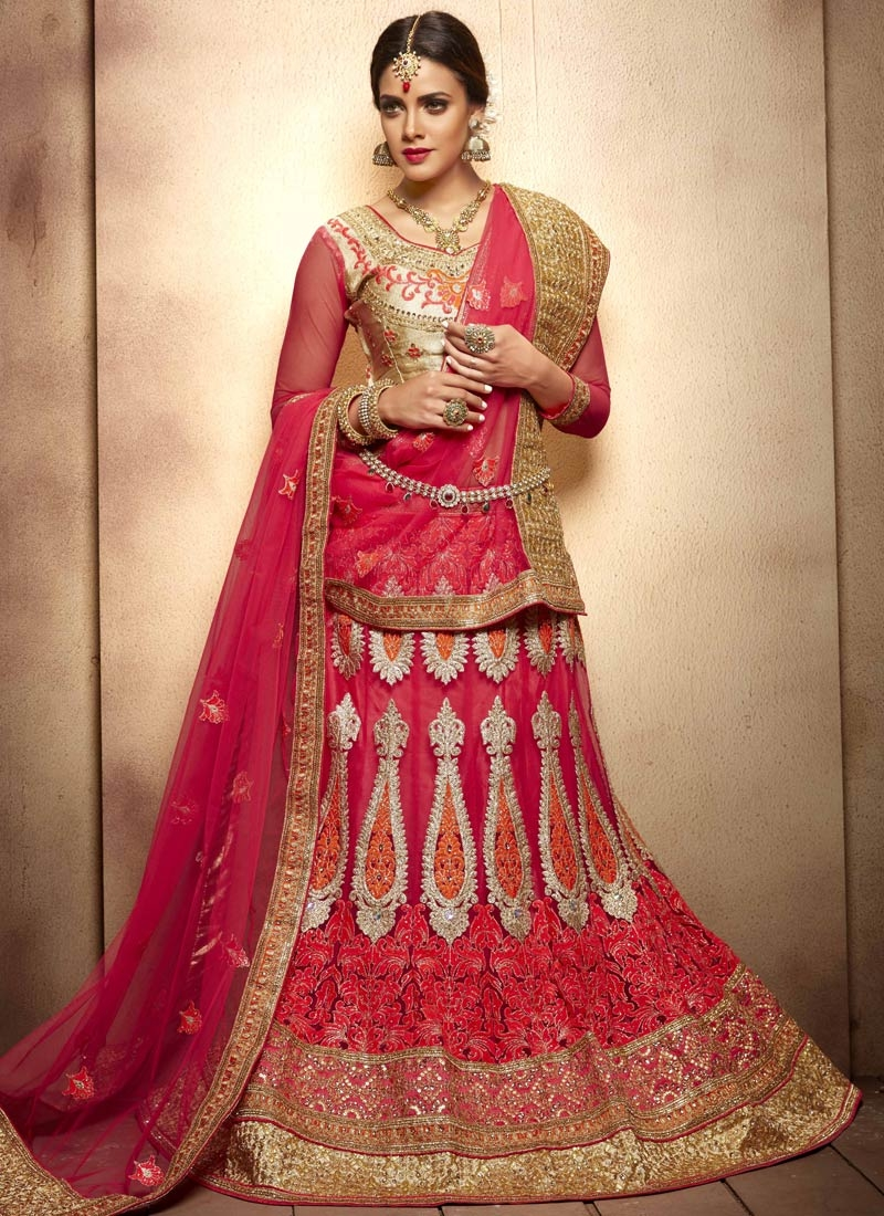 Sightly Patch Border Work Rose Pink Color Bridal Lehenga Choli