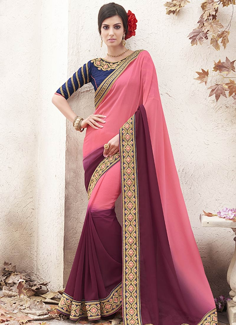 Sightly Salmon And Maroon Color Party Wear Saree