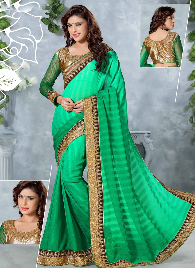 Sightly Sequins Work Party Wear Saree