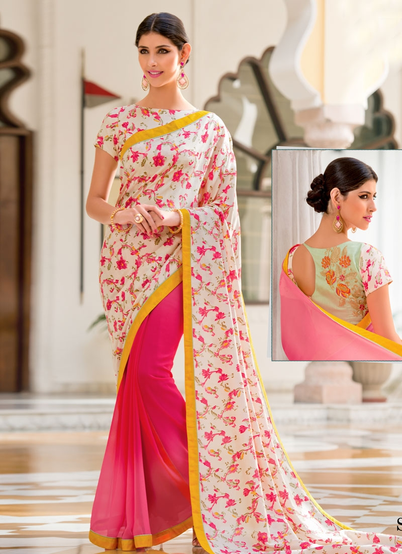 Sightly Silk Georgette Half N Half Casual Saree