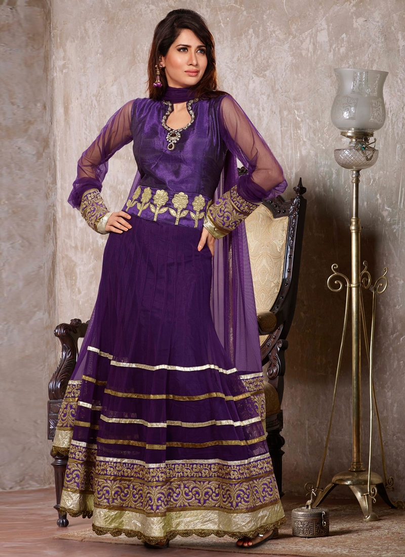Silk And Net Readymade Anarkali Salwar Suit