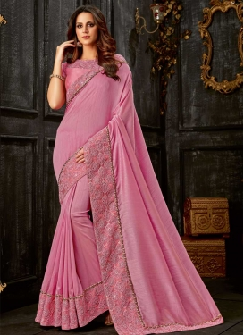 Silk Beads Work Contemporary Style Saree