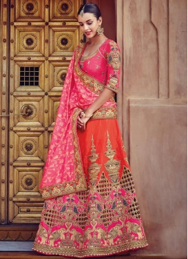 Silk Beads Work Designer Lehenga Saree
