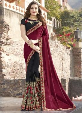 Silk Black and Maroon Half N Half Saree