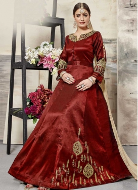 Silk Booti Work Floor Length Anarkali Salwar Suit