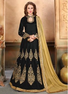 Silk Booti Work Long Length Designer Anarkali Suit