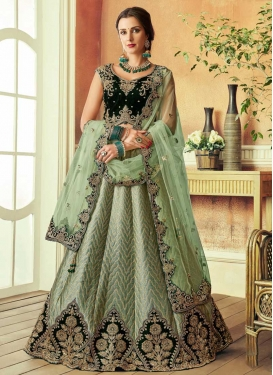 Silk Bottle Green and Sea Green A Line Lehenga Choli