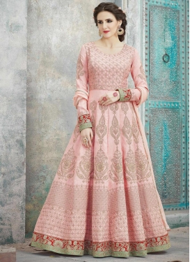Silk Chicken Work Anarkali Salwar Kameez
