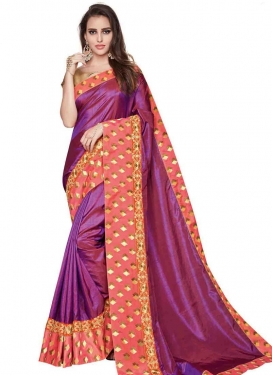 Silk Coral and Fuchsia Trendy Saree