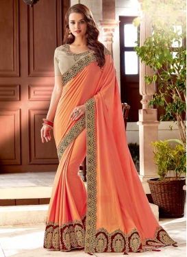 Silk Coral and Maroon Beads Work Designer Contemporary Style Saree