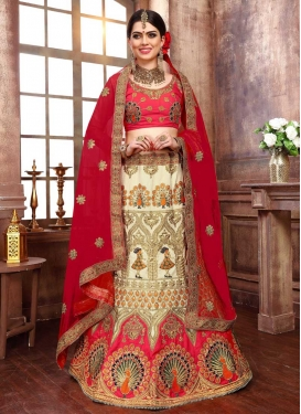 Silk Cream and Red Beads Work Trendy Lehenga