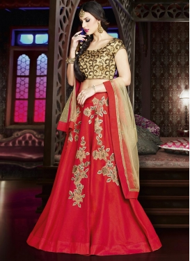 Silk Cream and Tomato Designer Classic Lehenga Choli