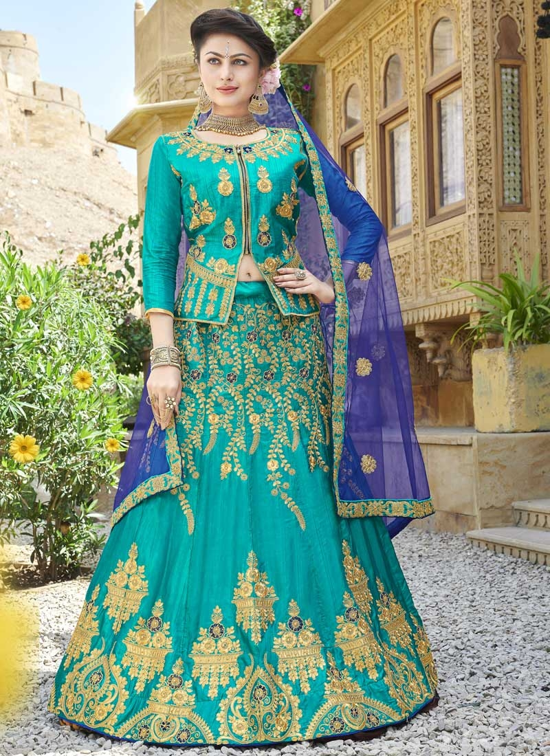 Silk Designer Long Choli Lehenga
