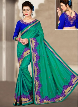 Silk Embroidered Work Classic Saree