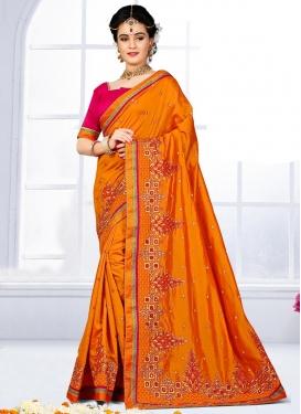 Silk Embroidered Work Classic Saree