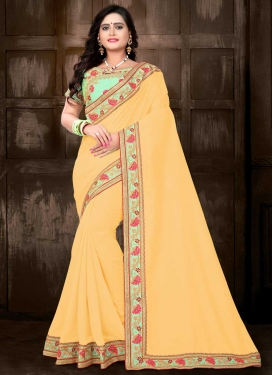 Silk Embroidered Work Contemporary Style Saree