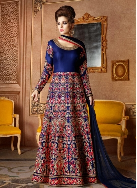Silk Embroidered Work Designer Ankle Length Anarkali Suit
