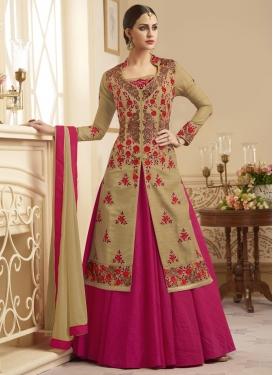 Silk Embroidered Work Designer Kameez Style Lehenga