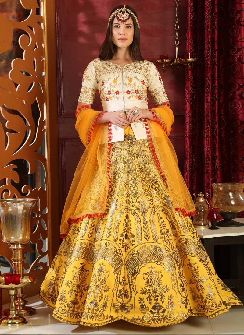 Silk Embroidered Work Designer Long Choli Lehenga