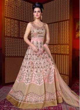 Silk Embroidered Work Floor Length Anarkali Salwar Suit