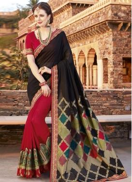 Silk Embroidered Work Half N Half Designer Saree