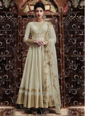 Silk Embroidered Work Long Length Anarkali Salwar Suit