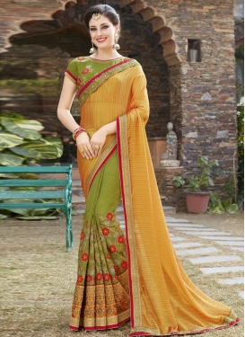 Silk Embroidered Work Olive and Yellow Half N Half Trendy Saree