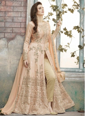 Silk Embroidered Work Pant Style Designer Salwar Kameez