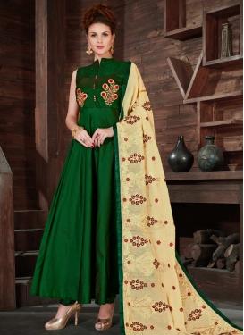 Silk Embroidered Work Readymade Designer Gown