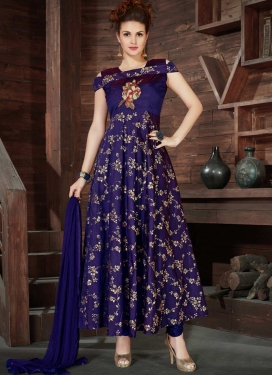 Silk Embroidered Work Readymade Floor Length Gown