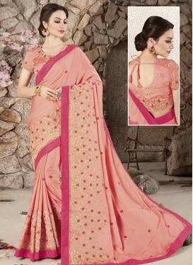 Silk Embroidered Work Trendy Classic Saree