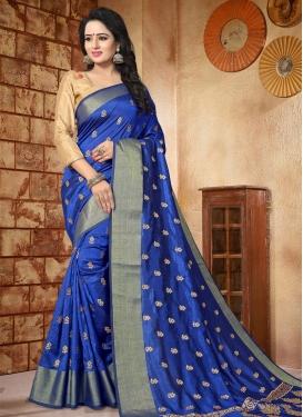 Silk Embroidered Work Trendy Saree