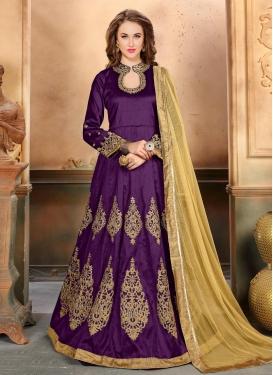 Silk Floor Length Anarkali Salwar Suit