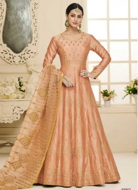 Silk Floor Length Anarkali Salwar Suit