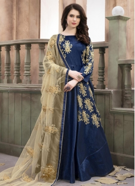 Silk Floor Length Anarkali Salwar Suit For Festival