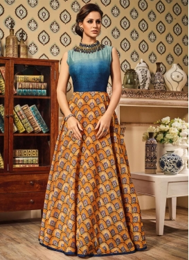 Silk Floor Length Anarkali Suit For Festival
